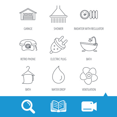 liquidizer: Ventilation, heat radiator and electric plug. Retro phone, shower and garage linear signs. Water drop, bath towel icons. Video cam, book and magnifier search icons. Vector Illustration