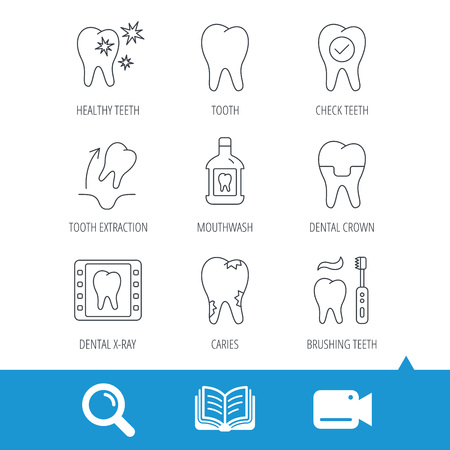 extraction: Tooth, dental crown and mouthwash icons. Caries, tooth extraction and hygiene linear signs. Brushing teeth flat line icon. Video cam, book and magnifier search icons. Vector Illustration