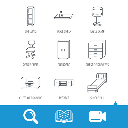 shelving: Single bed, TV table and shelving icons. Office chair, table lamp and cupboard linear signs. Wall shelf, chest of drawers icons. Video cam, book and magnifier search icons. Vector