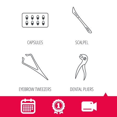 tweezers: Achievement and video cam signs. Scalpel, capsules and dental pliers icons. Eyebrow tweezers linear sign. Calendar icon. Vector