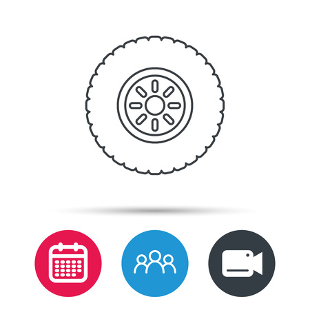 flaring: Car wheel icon. Tire service sign. Group of people, video cam and calendar icons. Vector