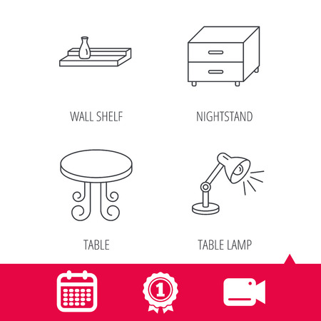 video wall: Achievement and video cam signs. Vintage table, lamp and nightstand icons. Wall shelf linear sign. Calendar icon. Vector Illustration
