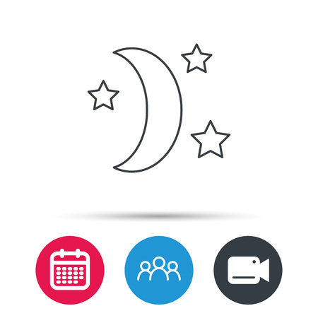 date night: Night or sleep icon. Moon and stars sign. Crescent astronomy symbol. Group of people, video cam and calendar icons. Vector