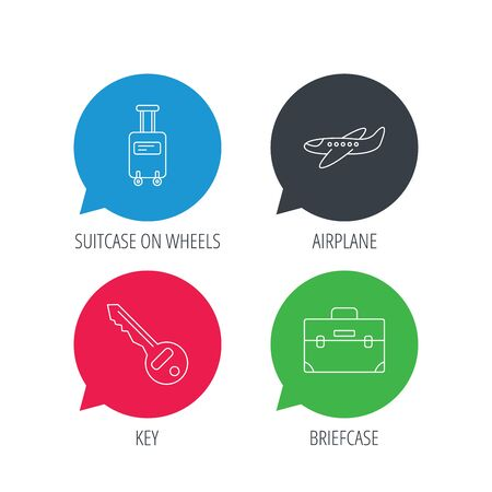chat room: Colored speech bubbles. Suitcase on wheels, key and airplane icons. Briefcase linear sign. Flat web buttons with linear icons. Vector Illustration