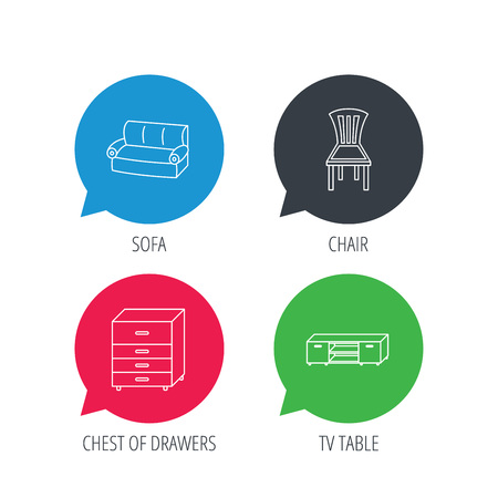 chest of drawers: Colored speech bubbles. Sofa, chair and chest of drawers icons. TV table linear sign. Flat web buttons with linear icons. Vector Illustration
