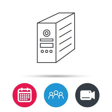 pc case: Computer server icon. PC case or tower sign. Group of people, video cam and calendar icons. Vector Illustration