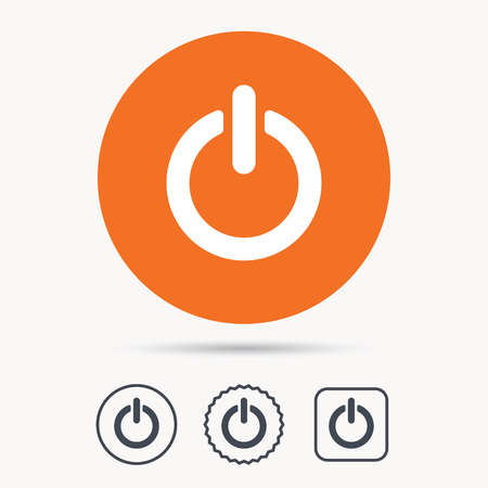 star power: On, off power icon. Energy switch symbol. Orange circle button with web icon. Star and square design. Vector