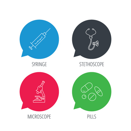 histology: Colored speech bubbles. Syringe, stethoscope and microscope icons. Medical pills linear sign. Flat web buttons with linear icons. Vector