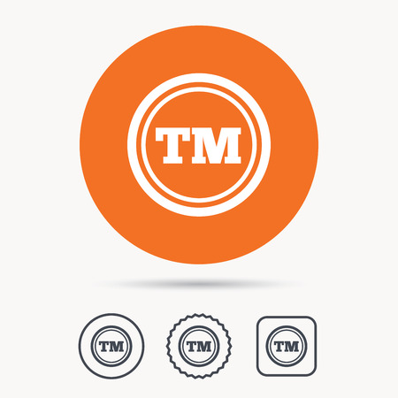 intellectual: Registered TM trademark icon. Intellectual work protection symbol. Orange circle button with web icon. Star and square design. Vector Illustration