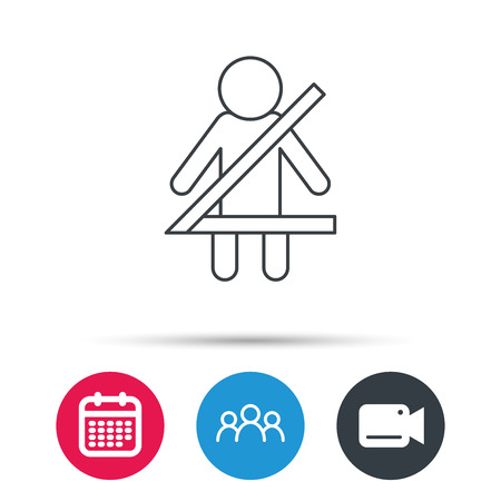 fasten: Fasten seat belt icon. Human silhouette sign. Group of people, video cam and calendar icons. Vector