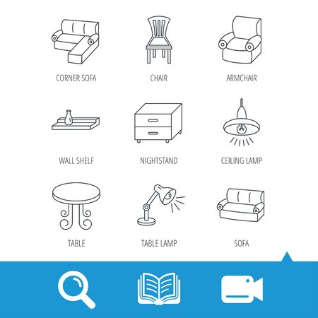 video wall: Corner sofa, table and armchair icons. Chair, ceiling lamp and nightstand linear signs. Wall shelf furniture flat line icons. Video cam, book and magnifier search icons. Vector