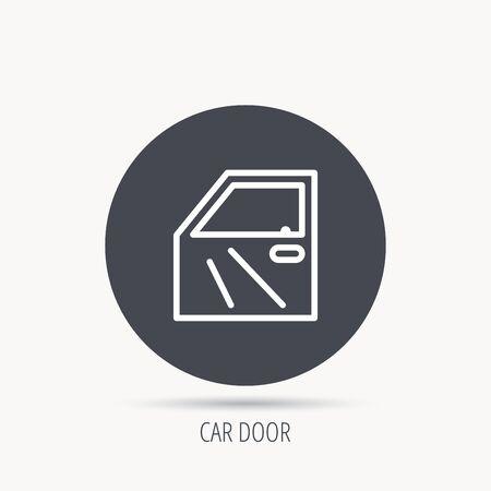 automobile door: Car door icon. Automobile lock sign. Round web button with flat icon. Vector