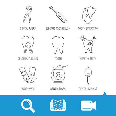 Tooth extraction, electric toothbrush icons. Dental implant, floss and dentinal tubules linear signs. Toothpaste icon. Video cam, book and magnifier search icons. Vector Illustration