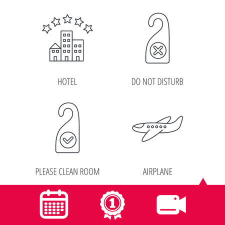 Achievement and video cam signs. Hotel, airplane and clean room icons. Do not disturb linear sign. Calendar icon. Vector Illustration