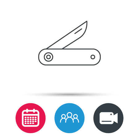 knive: Multitool knife icon. Multifunction tool sign. Hiking equipment symbol. Group of people, video cam and calendar icons. Vector