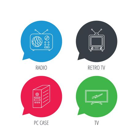pc case: Colored speech bubbles. Retro TV, radio and PC case icons. Computer linear sign. Flat web buttons with linear icons. Vector Illustration