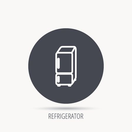 frig: Refrigerator icon. Fridge sign. Round web button with flat icon. Vector