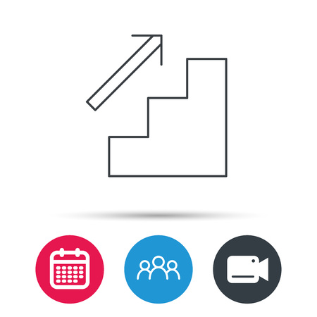 flechas direccion: Upstairs icon. Direction arrow sign. Group of people, video cam and calendar icons. Vector