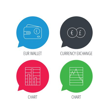 deceleration: Colored speech bubbles. Currency exchange, chart and euro wallet icons. Statistics graph linear signs. Flat web buttons with linear icons. Vector
