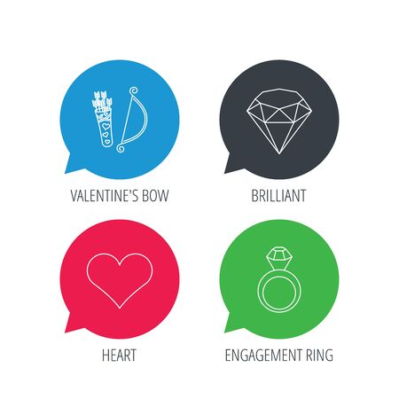 brilliant heart: Colored speech bubbles. Love heart, brilliant and engagement ring icons. Valentine bow linear sign. Flat web buttons with linear icons. Vector Illustration
