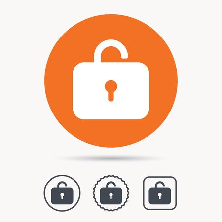private access: Lock icon. Privacy locker sign. Private access symbol. Orange circle button with web icon. Star and square design. Vector