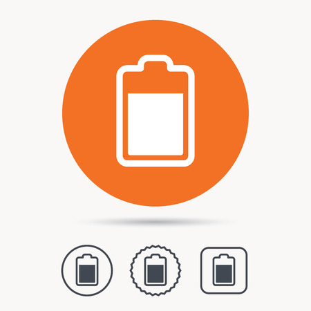 star power: Battery power icon. Charging accumulator symbol. Orange circle button with web icon. Star and square design. Vector