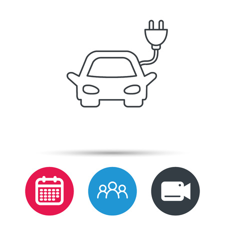 hybrid: Electric car icon. Hybrid auto transport sign. Group of people, video cam and calendar icons. Vector