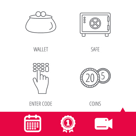 cash box: Achievement and video cam signs. Cash money, safe box and wallet icons. Coins, enter code linear sign. Calendar icon. Vector Illustration