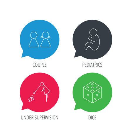 supervision: Colored speech bubbles. Couple, paediatrics and dice icons. Under supervision linear sign. Flat web buttons with linear icons. Vector