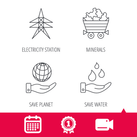 Achievement and video cam signs. Save water, planet and electricity station icons. Minerals linear sign. Calendar icon. Vector Illustration
