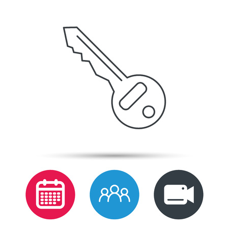 tool unlock: Key icon. Door unlock tool sign. Group of people, video cam and calendar icons. Vector