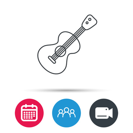 play date: Guitar icon. Musical instrument sign. Band guitarist symbol. Group of people, video cam and calendar icons. Vector