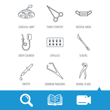 tools icon: Medical mask, capsules and dental pliers icons. Surgical lamp, scalpel and drop counter linear signs. Tweezers, pipette and forceps flat line icons. Video cam, book and magnifier search icons. Vector Illustration