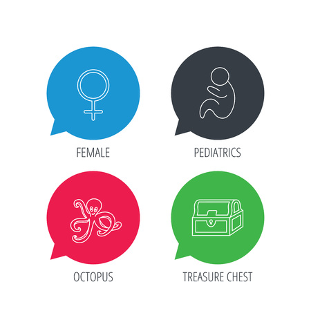 paediatrics: Colored speech bubbles. Female, treasure chest and pediatrics icons. Octopus linear sign. Flat web buttons with linear icons. Vector