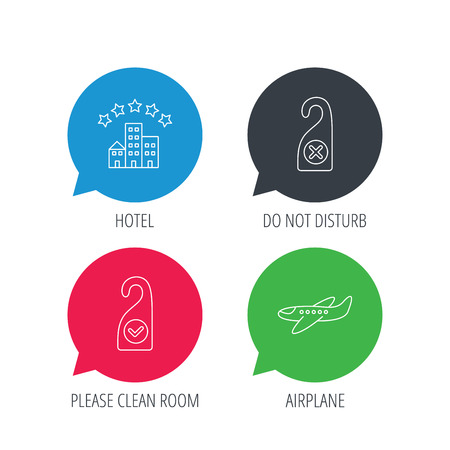 Colored speech bubbles. Hotel, airplane and do not disturb icons. Clean room linear sign. Flat web buttons with linear icons. Vector Illustration