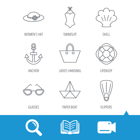 Paper boat, shell and swimsuit icons. Lifebuoy, glases and women hat linear signs. Anchor, ladies handbag icons. Video cam, book and magnifier search icons. Vector Illustration