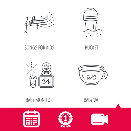 songs: Achievement and video cam signs. Baby wc, video monitoring and songs for kids icons. Beach bucket linear sign. Calendar icon. Vector