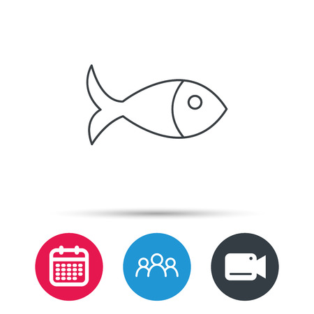 aquaculture: Fish icon. Seafood sign. Vegetarian food symbol. Group of people, video cam and calendar icons. Vector