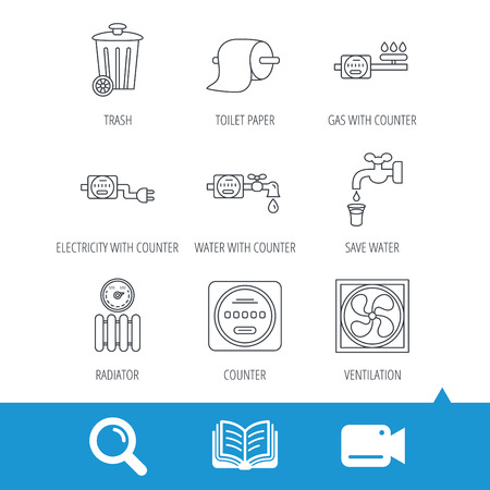 Ventilation, radiator and water counter icons. Toiler paper, gas and electricity counters linear signs. Trash icon. Video cam, book and magnifier search icons. Vector
