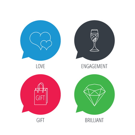 brilliant heart: Colored speech bubbles. Love heart, gift box and wedding ring icons. Brilliant and engagement linear signs. Flat web buttons with linear icons. Vector Illustration