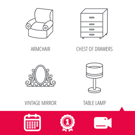 chest of drawers: Achievement and video cam signs. Vintage mirror, table lamp and armchair icons. Chest of drawers linear sign. Calendar icon. Vector