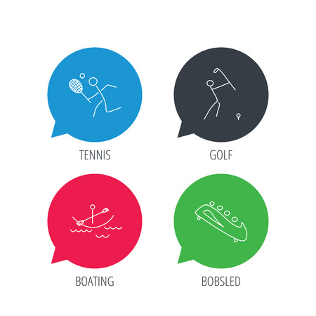 boating: Colored speech bubbles. Boating, tennis and golf icons. Bobsled linear sign. Flat web buttons with linear icons. Vector Illustration