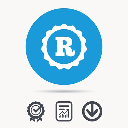 intellectual: Registered trademark icon. Intellectual work protection symbol. Achievement check, download and report file signs. Circle button with web icon. Vector Illustration