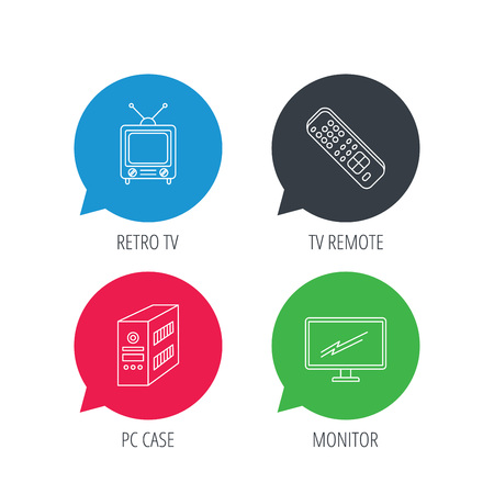 pc case: Colored speech bubbles. Retro TV, PC case and monitor icons. TV remote linear sign. Flat web buttons with linear icons. Vector Illustration