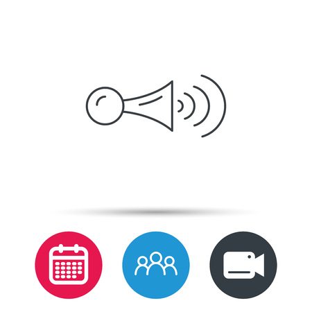 strident: Klaxon signal icon. Car horn sign. Group of people, video cam and calendar icons. Vector Illustration