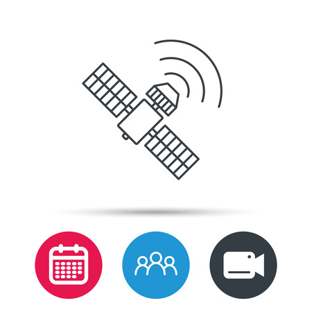satellite navigation: GPS icon. Satellite navigation sign. Group of people, video cam and calendar icons. Vector