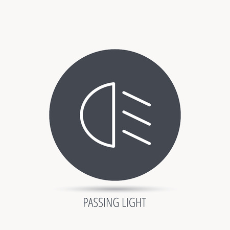 dipped: Passing light icon. Dipped beam sign. Round web button with flat icon. Vector
