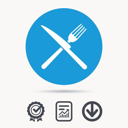 Fork and knife icons. Cutlery symbol. Achievement check, download and report file signs. Circle button with web icon. Vector