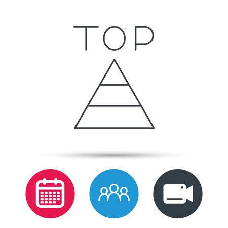 best result: Triangle icon. Top or best result sign. Success symbol. Group of people, video cam and calendar icons. Vector
