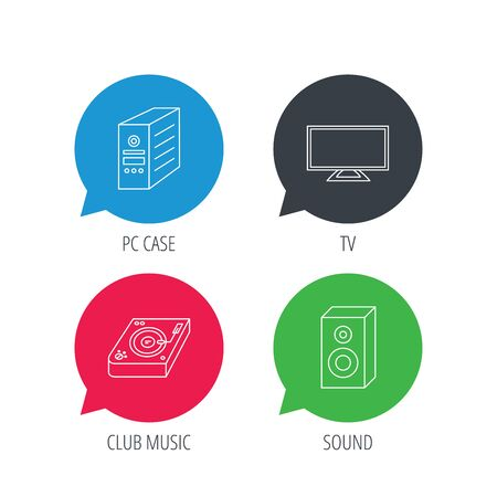 pc case: Colored speech bubbles. Sound, club music and pc case icons. TV linear sign. Flat web buttons with linear icons. Vector Illustration